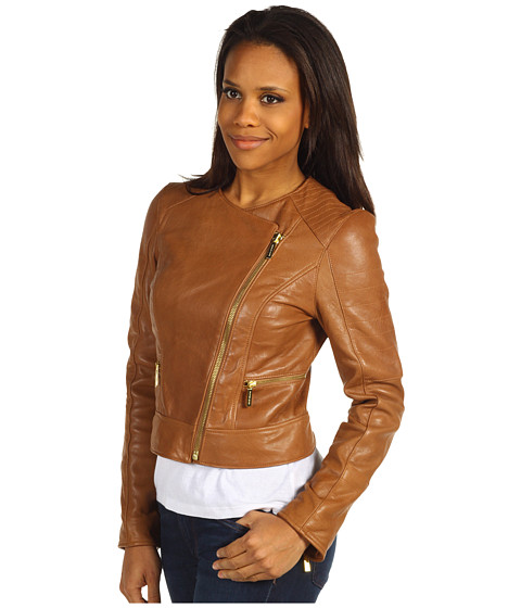 michael michael kors leather biker jacket w qlt. Black Bedroom Furniture Sets. Home Design Ideas