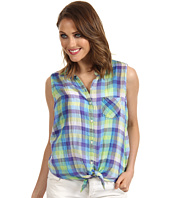 C&C California - YD Checkered Plaid Tie Front Sleeveless Shirt