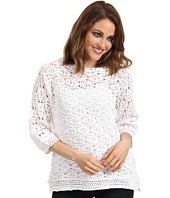 C&C California - Ramie Cotton Crochet 3/4 Sleeve Crochet Top