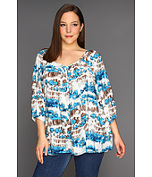 Karen Kane Plus - Plus Size Button Up Blouson Sleeve Top