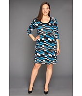 Karen Kane Plus - Plus Size Three Quarter Sleeve Checkered Dress