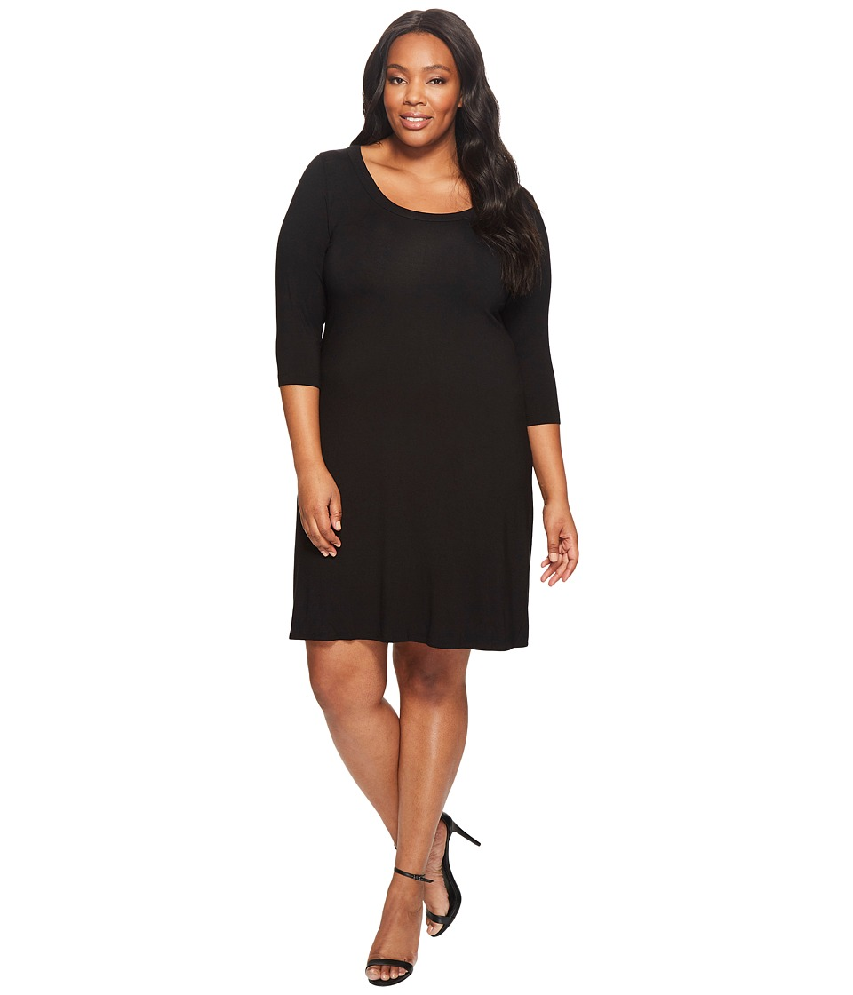 Karen Kane Plus - Plus Size Three Quarter Sleeve A-Line Dress (Black) Womens Dress