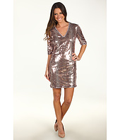 Donna Morgan - Samantha V-Neck Three-Quarter Sleeve Sequin Sheath Dress