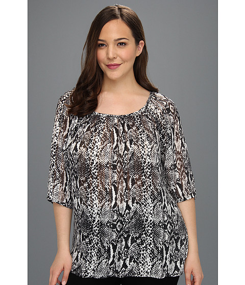 Karen Kane Plus - Plus Size Three Quarter Blouson Top (Print) - Apparel