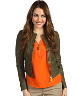 MICHAEL Michael Kors Petite - Petite Soft Leather Zip Jacket
