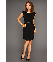 MICHAEL Michael Kors Petite - Petite MJ Pleated Front Leather Buckle Dress