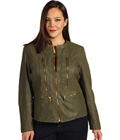 MICHAEL Michael Kors Plus - Plus Size Soft Leather Zip Jacket