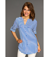 Calvin Klein - Striped Crew Roll Sleeve Blouse
