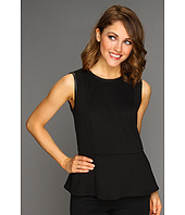 Calvin Klein - Faux Leather Trim Peplum Blouse