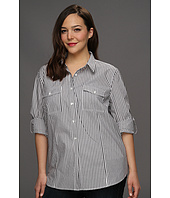 MICHAEL Michael Kors Plus - Plus Size Yarn Dye Button Down Shirt