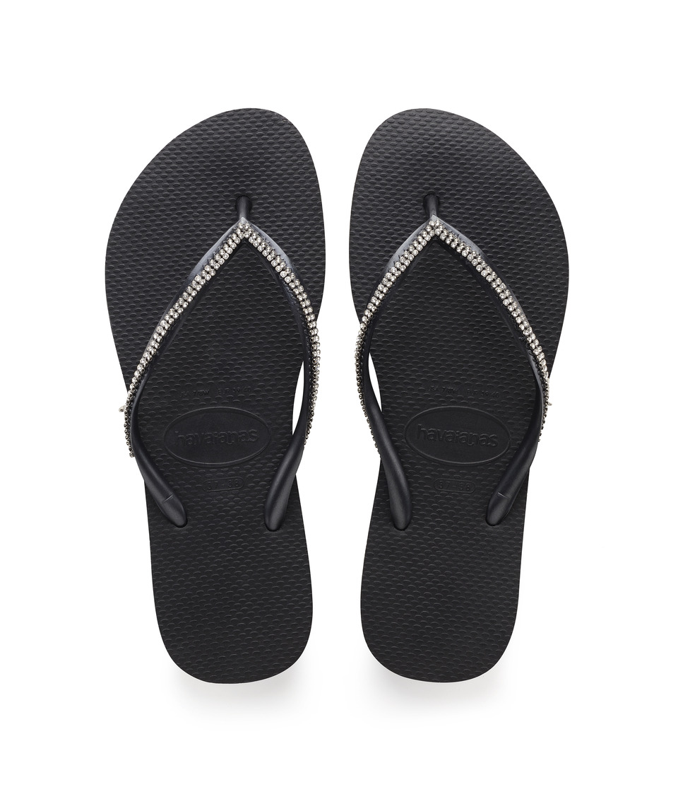Havaianas - Slim Crystal Mesh II Flip Flops (Black) Women's Sandals
