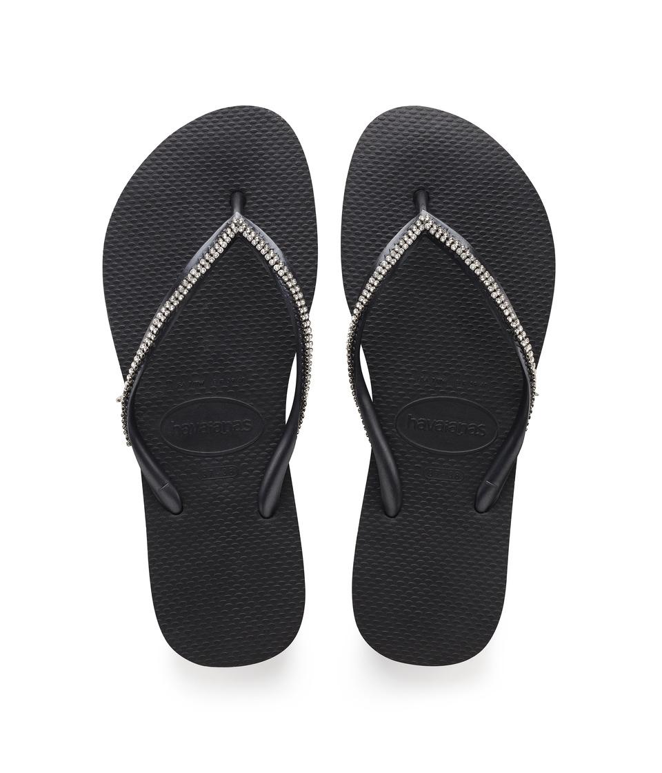 Havaianas - Slim Crystal Mesh II Flip Flops (Black) Womens Sandals
