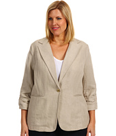 MICHAEL Michael Kors Plus - Plus Size Linen Shirred Boyfriend Jacket