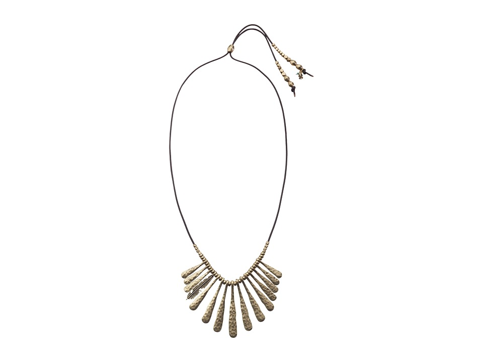 Lucky Brand - Indian Spice Gold Fan Necklace (Gold) Necklace