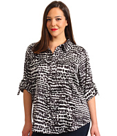 Calvin Klein - Plus Size Printed Roll Sleeve Blouse
