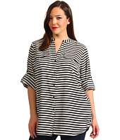 Calvin Klein - Plus Size Striped Crew Roll Sleeve Blouse