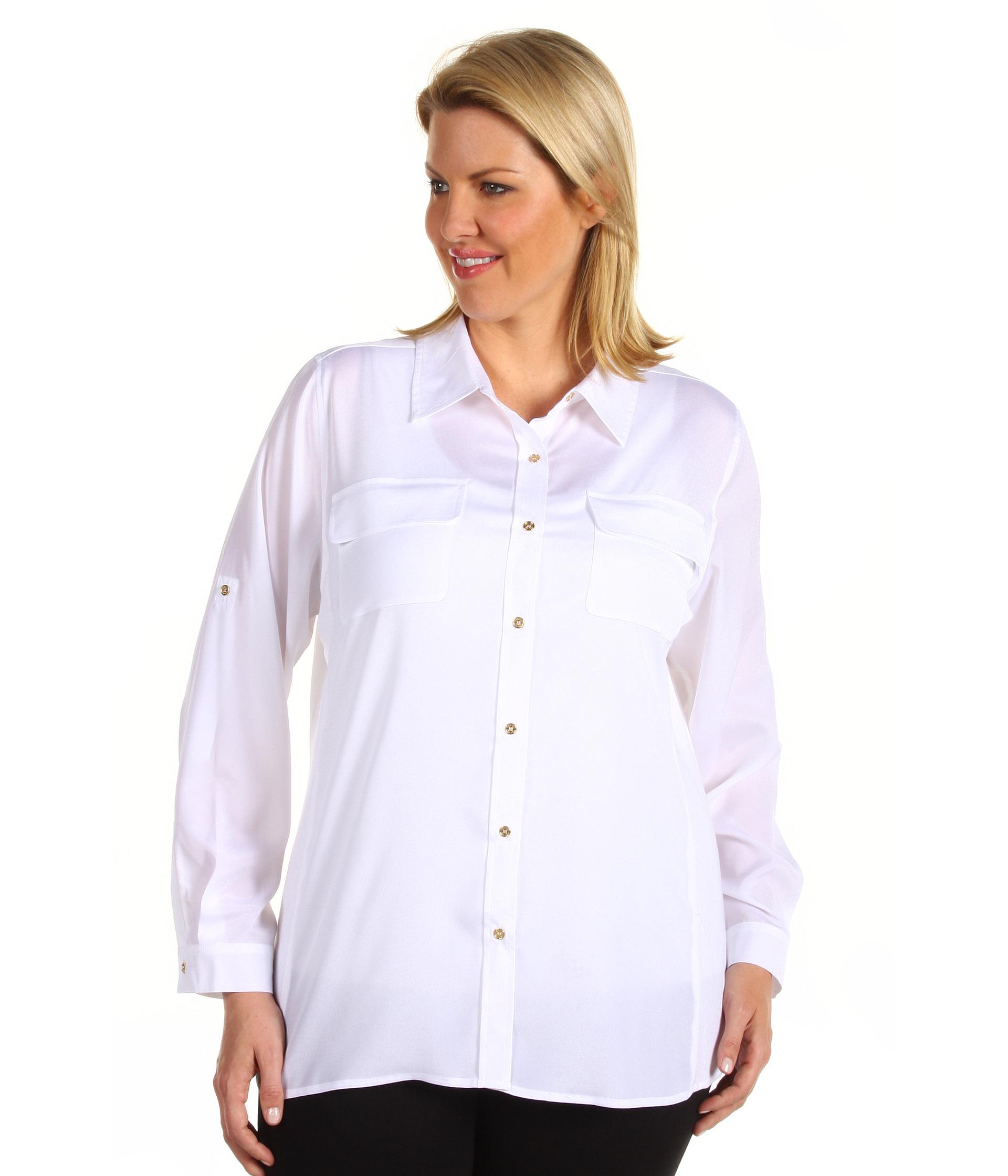 White Dress Blouse Plus Size 112