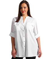 Calvin Klein - Plus Size Crew Roll Sleeve Blouse