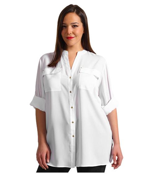 Calvin Klein Plus Plus Size Crew Roll Sleeve Blouse (Soft White) Women's Blouse