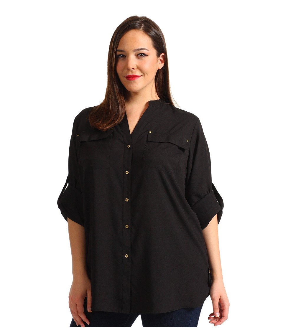 Calvin Klein Plus - Plus Size Crew Roll Sleeve Blouse (Black) Womens Blouse