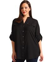 Calvin Klein Plus - Plus Size Crew Roll Sleeve Blouse
