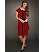 Ellen Tracy - Houndstooth Cap Sleeve Colorblock Dress