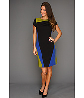 Ellen Tracy - Ponte Short Sleeve Colorblock Dress