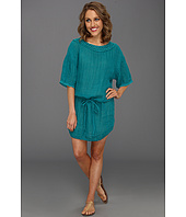 Michael Stars - Textured Cotton Elbow Sleeve Boatneck Tunic Dress