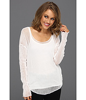 Michael Stars - Box Mesh L/S Voile Back Scoop Neck Top