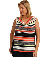 Calvin Klein - Plus Size Vintage Stripe Printed Cowl Neck Top
