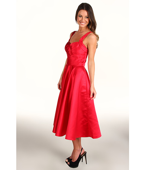 Unique Vintage - Happily Ever After Pleated Swing Dress (Cherry Red Satin) - Apparel