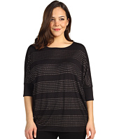 Kenneth Cole New York - Plus Size Studded Stripe Boatneck Top