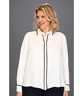 Kenneth Cole New York - Plus Size Long Sleeve Shirt with Piping