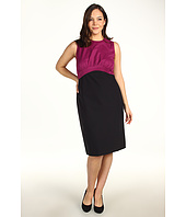 Kenneth Cole New York - Plus Size Colorblock Mixed Media Pleat Dress