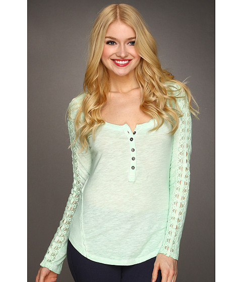 Free People - Shell Stitch Lace Top (Mint) - Apparel