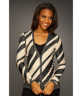 Anne Klein - Stripe L/S V-Neck Cardigan