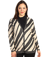Anne Klein - Plus Size Stripe L/S V-Neck Cardigan