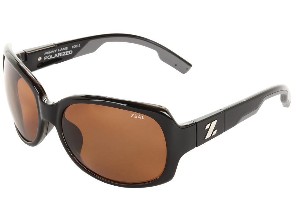 Zeal Optics Penny Lane Polarized Black Gloss w / Copper Polarized Lens Sport Sunglasses