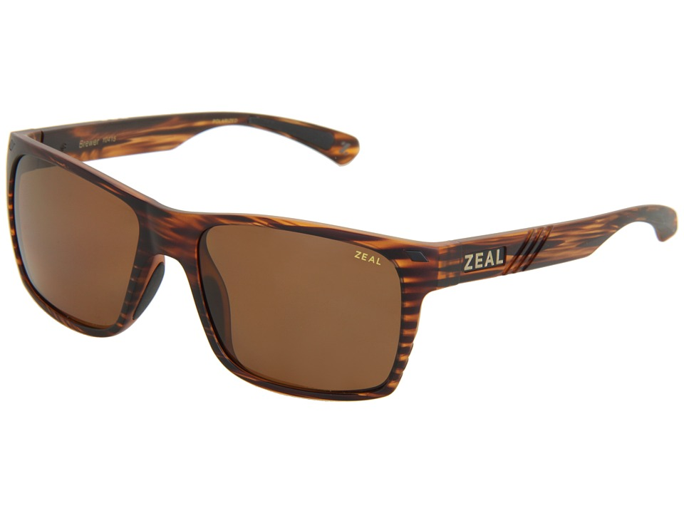 Zeal Optics Brewer Matte Wood Grain w / Copper Polarized Lens Sport Sunglasses
