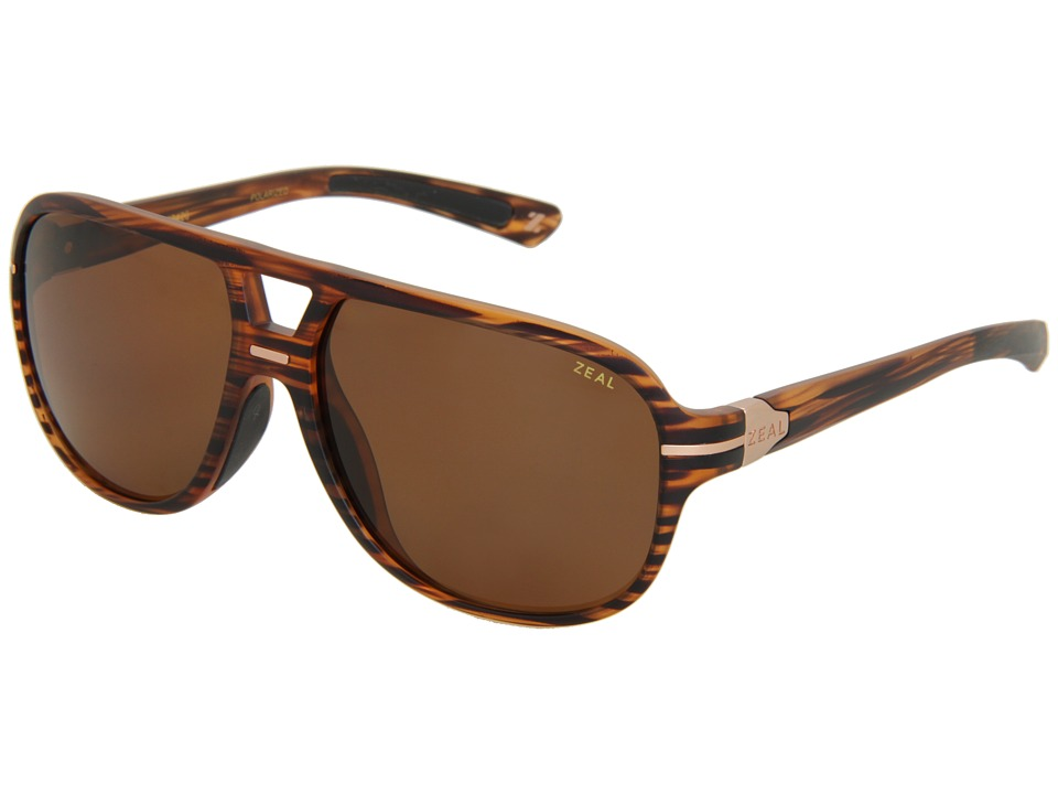 Zeal Optics Darby Polarized Matte Wood Grain w / Copper Polarized Lens Sport Sunglasses
