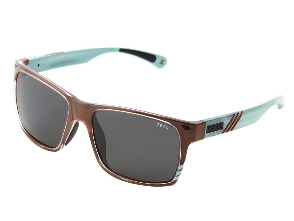 Zeal Optics Brewer Carmel Turquoise Gloss w / Dark Grey Polarized Lens Sport Sunglasses
