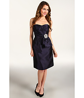 Eliza J - S/L Bustier Dress w/ Drape Front and Brooch