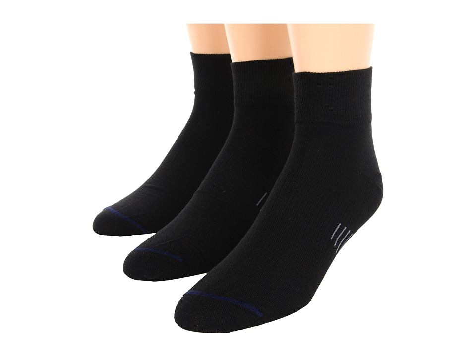 Wrightsock - Ultra Thin Qtr 3-Pair Pack (Black) Quarter Length Socks Shoes