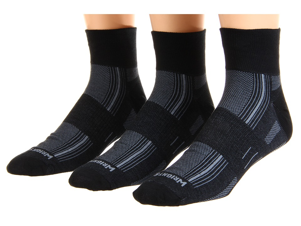 Wrightsock - DL Stride Qtr 3 Pair Pack (Black) Quarter Length Socks Shoes