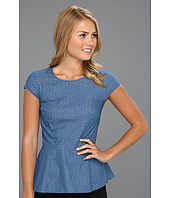 Kensie - Dot Chambray Peplum Top