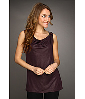 Jones New York - Draped Sleeveless Top w/ Satin Trim