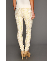 7 For All Mankind - The Skinny in White w/ Gold Jacquard Snake