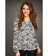 Jones New York - Zebra Printed Cuff Sleeve Blouse