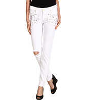 7 For All Mankind - Slim Cigarette in White Destroyed w/ Crystals