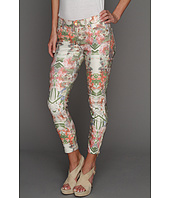 7 For All Mankind - Side Zip Cropped Skinny in Ecru Tropical Paradise